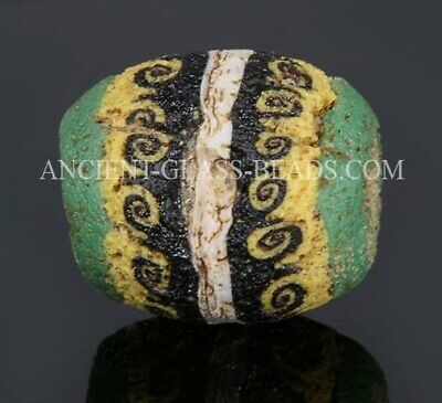"Ancient Roman beads: intact genuine Roman/Egyptian mosaic glass bead w ""waves"""