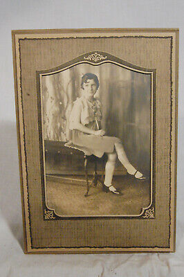 1920s - 1930s Antique Cabinet Matted Photo Picture Beautiful Young Woman Girl