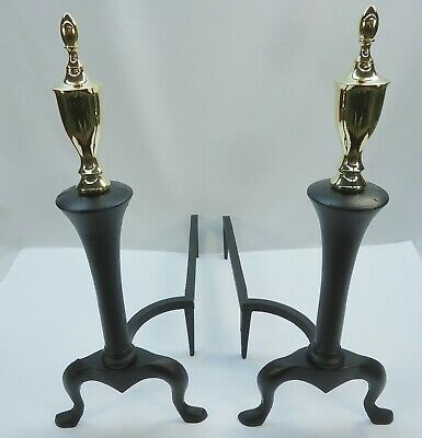 Beautiful Vintage Refurbished Federal Style Brass And Cast Iron 18.5'' Andirons