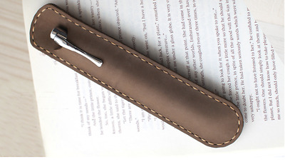 fountain pen storage bag Genuine cow Leather pouch Customize case brown z129