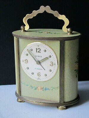 Vintage Swiss Made 7J Semca Alarm Carriage Clock Roses - w/ Handle - Runs