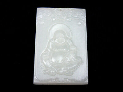 White Jade Pendant *Laughing Buddhat Blessing FU* Hand Carved In Relief #081619