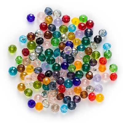 50pcs Round Cut Faceted Crystal Glass loose spacer Beads Jewelry Making 6mm