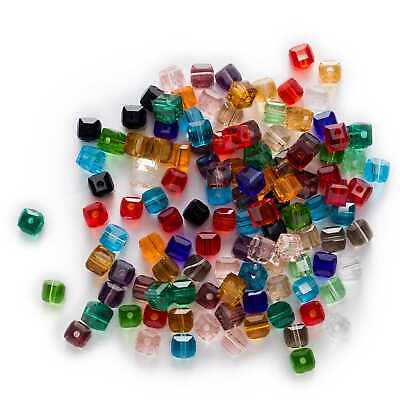 50pcs Mixed Square Faceted Crystal Glass loose spacer Beads Jewelry Making 6mm