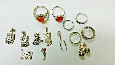 Package Of 14 Pcs. Sterling Silver Stamped 925, Rings, Earring, Charms