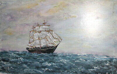 Vintage impressionist oil painting seascape ship