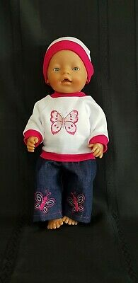 "New Cute Jeans & Butterfly Top Dolls Clothes To Fit Baby Born Or 17"" Doll"