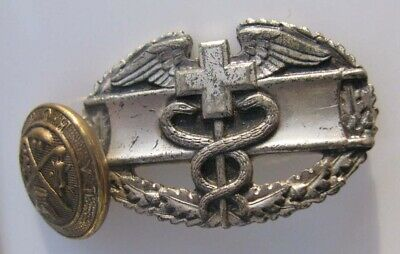 WW2 US Army Combat Medic BADGE pinback pin award with Attached MYSTERY Button!
