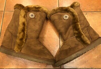 Ladies Winter Boots Snow Fur Warm Casual Fashion Mid Calf Size 7 Worn Once