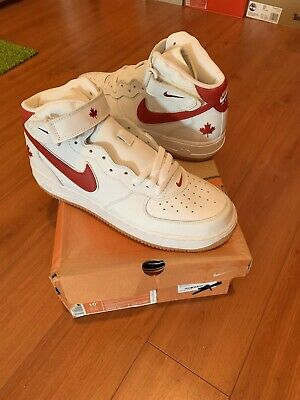 Nike Air Force 1 Mid Canada Maple Leaf 2004 Size 10.5 DS AF1 One white red gum
