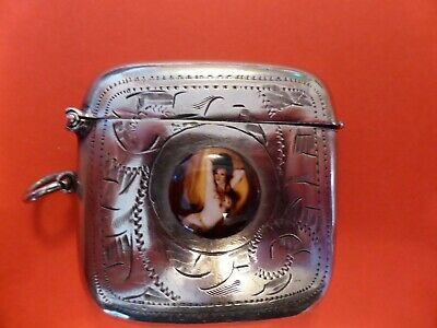 Antique Silver Plate Vesta case with erotic nude lady pictured on the front.