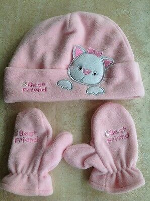 Girls Pink Hat And Glove Set 4 Years