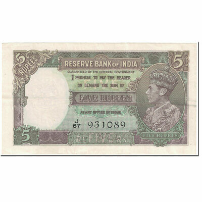 [#605435] Banknote, India, 5 Rupees, 1937, Undated (1937), KM:18a, AU(50-53)