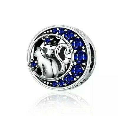 925 Sterling Silver Cat and Moon Charm for a Charm Bracelet in a gift pouch