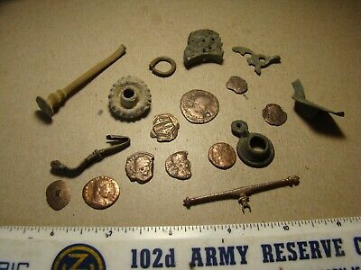 Lot Ancient to Post - Medieval artifacts relics coins, metal detector finds !!