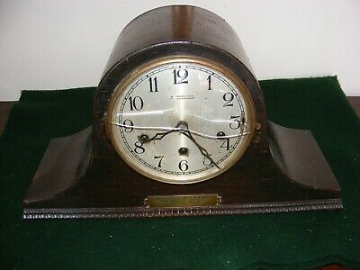 1930's ART DECO MANTLE CLOCK BI CORN HAT PLYMOUTH DOCK YARD WORDEN & CO STRIKES