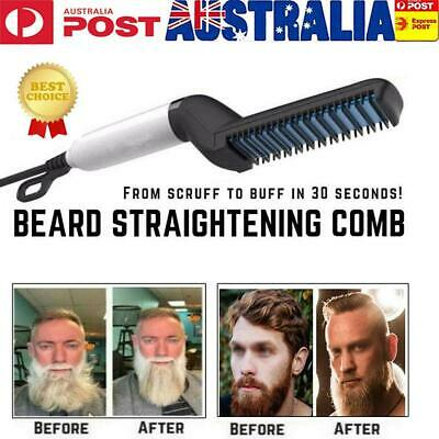 Men Quick Beard Straightener Multifunctional Hair Comb Curling Curler Show Cap