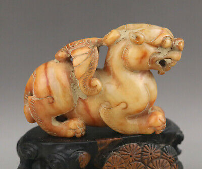 Chinese old natural jade hand-carved statue of dragon