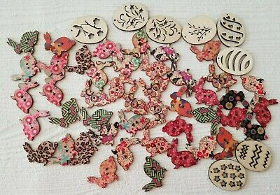 Lot Easter Egg Wood Ornaments Wood Easter Egg Tags Easter Bunny Buttons (lot 5)