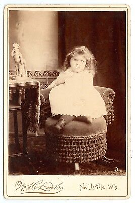 B8362~ Cute Little Girl & Posing Chair cabinet Card by Drake Neilsville WI