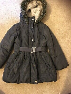 Girls Winter Grey Hooded Coat. Age 3. Mothercare