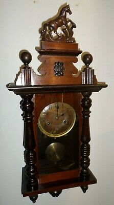 Rare Antique German Arthur Junghans Horse Fancy Wood Case Chiming Wall Clock!