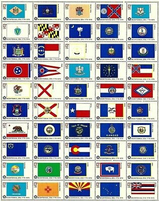 1976 BICENTENNIAL STATE FLAGS - Sheet of 50 (13 Cents) Stamps - Mint - #1633-82