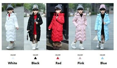 Childrens Kids Girls Thick Warm Quilted Long Puffer Jacket Parka Coat Outerwear