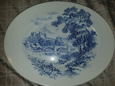 "Wedgwood Countryside 12"" Oval Serving Platter Blue & White China"
