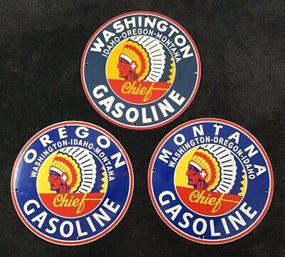 Vintage Chief Gasoline Porcelain Sign Gas Oil Pump Plate Service Station Rare
