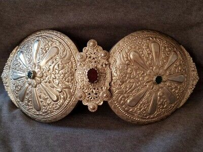 RARE ANTIQUE 1865 Ottoman Macedonian Hand forged silver alloy large belt buckle