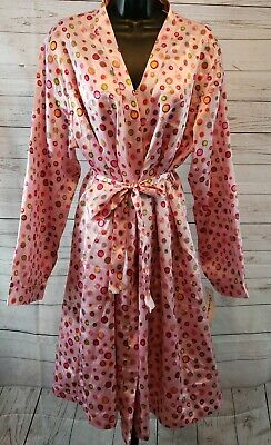 NWT Chanteuse Polka Dot Pink Intimates Belted Robe & Gown Set Womens Sz XL #3098