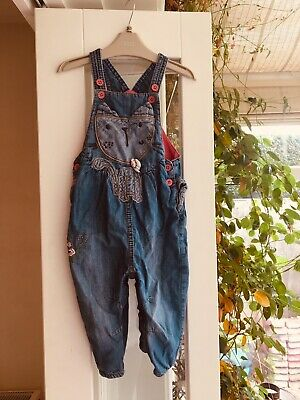 Next Baby Girl Denim Toddler Dungarees With Design And Frills 12-18 Months