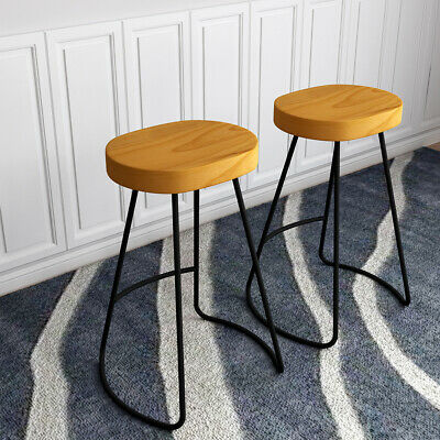 Bar Stools Industrial Rustic Metal Vintage Backless Counter High Chairs Pair