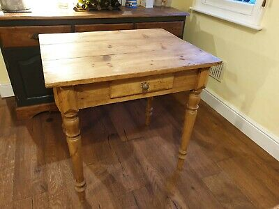 Antique French Pine Prep Kitchen Table with Drawer