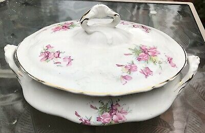Sevres Antique French Porcelain China Casserole W/ Lid Floral White Pink Purple