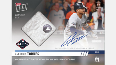 2019 TOPPS NOW ALCS AUTO RELIC CARD /99 NY YANKEES GLEYBER TORRES #1006A 5 RBIs
