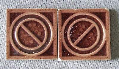 2 Trent Tiles Victorian Circle & Clover Architectural Art Pottery Ceramic Accent