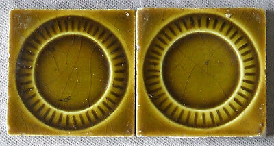 2 Trent Tiles Victorian Geometric Wreath  Architectural Art Pottery Ceramic