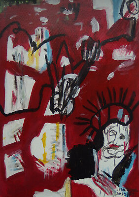 Perfect Neo Expressionist Unique Painting, Basquiat, signed & stamped