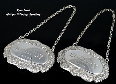 English Sterling Silver Bottle Labels Sherry Brandy Beautiful Condition Hallmark