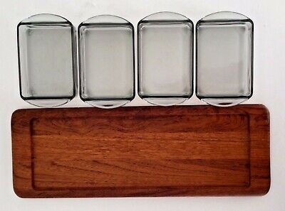 1964 Danish Serving Dishes Teak Tray Digsmed Denmark Mid Century Modern Vtg Gift