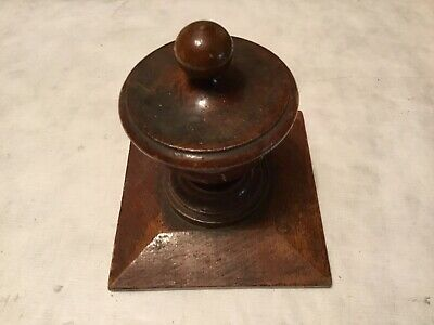 Antique solid oak newel post, architectural salvage, turn of the century (1907)
