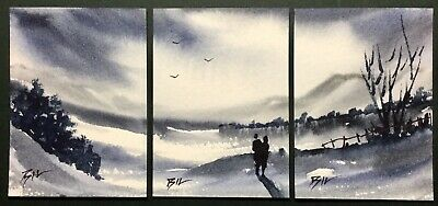 SET of 3 original art miniature paintings ACEO - Cold Winter - by Bill Lupton