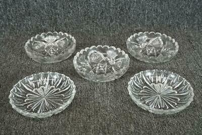 "Set Of 5 Glass Trinket Dishes 5 1/2"" Different Brands"