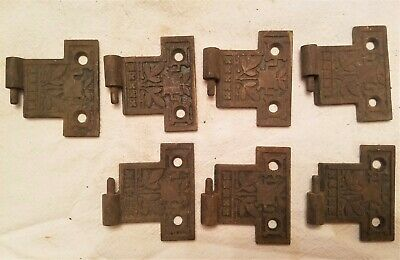 Lot Of 7 Early Antique Cast Iron Victorian Eastlake Door Hinges