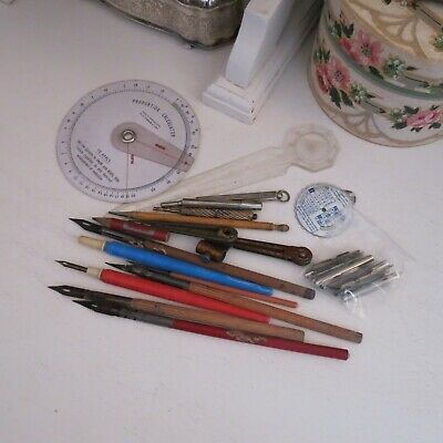 Mixed lot of vintage writing implements dip pens compasses spare nibs & lead pen