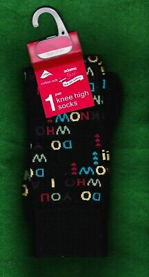 "2 Pairs Adams Girl ""Do You Know Who I Am?"" Knee High Cotton Socks~Shoe Size 9-12"