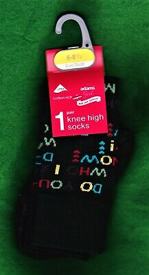 "2 Pairs Adams Girl ""Do You Know Who I Am?"" Knee High Cotton Socks~Shoe Size 6-8½"