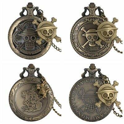 Men Women One Piece Quartz Pocket Watches Analog Chain Cartoon Skull Bronze Case